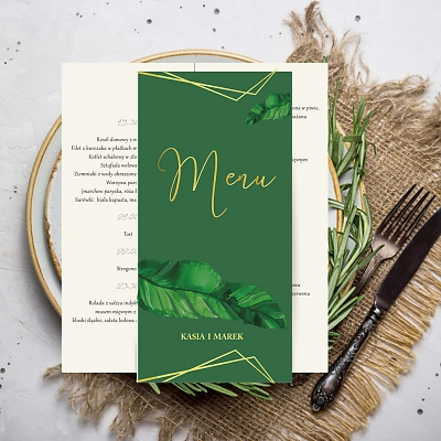 Menu ślubne monstera