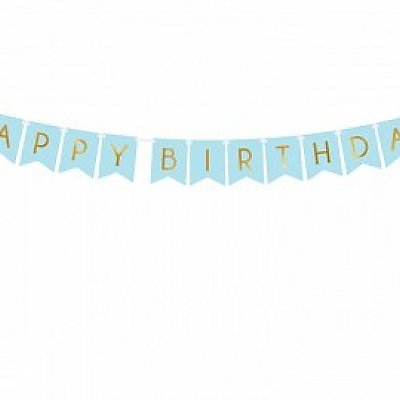 Baner Happy Birthday,niebieski, 15 x 175 cm
