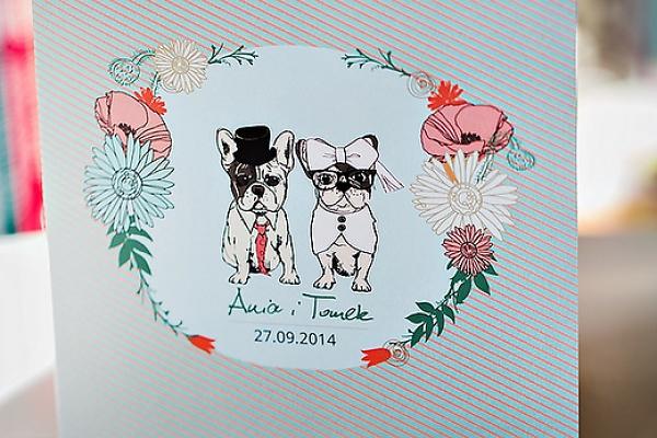 Polkastudio Zaproszenia ślubne Francuskie Buldogi