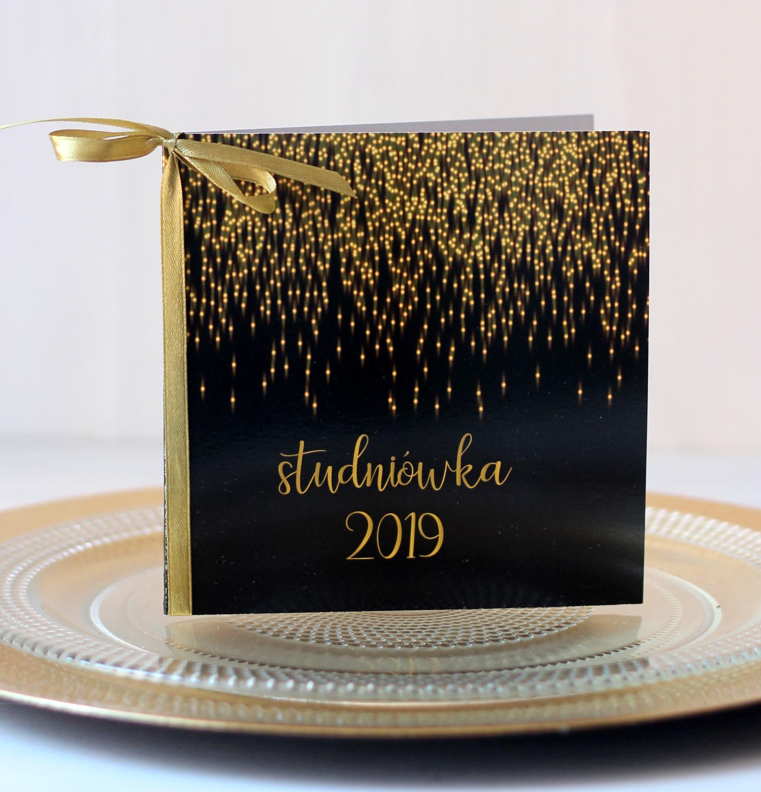 Zaproszenie Studniówka Złoto