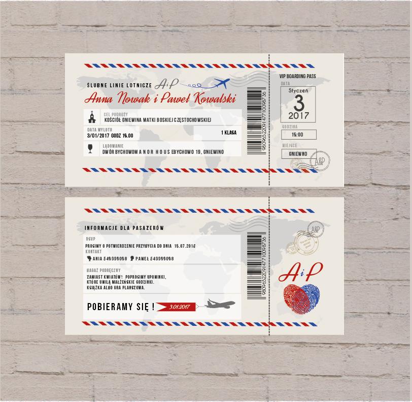 Polkastudio Zaproszenia ślubne Bilet Lotniczy
